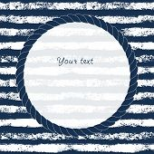 Navy blue and white circle rope frame on grunge striped background for your text or image, vector