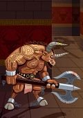stock photo of minotaur  - The mighty Minotaur walking around the Labyrinth - JPG