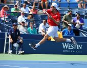 Professional tennis player Roberto Bautista Agut during second round match at US Open 2013