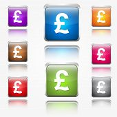 Pound Round Corner Glossy Vector Web Icon Button Set