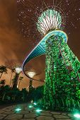 SINGAPORE - DECEMBER 31, 2013: Night view of Supertree Grove at Gardens by the Bay. Futuristic park