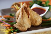 picture of samosa  - Samosa  is an Indain fried or baked pastry with a savory filling - JPG