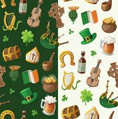 stock photo of bagpipes  - Pattern for saint patrick day with traditional irish items - JPG