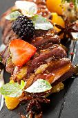 picture of duck breast  - Duck Magret with Fruits and Berries - JPG
