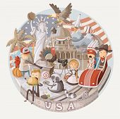Plate design with items from USA