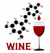 Wine and Ethanol (alcohol) molecule