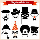 foto of mustache  - Vector set of mask - JPG