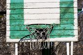 picture of netball  - Green basketball net on the common yard - JPG