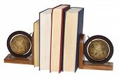 books with globe bookends