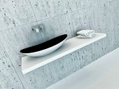 stock photo of wash-basin  - Closeup of modern wash basin - JPG