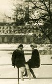 LODZ, POLAND, CIRCA SIXTIES - Vintage portrait of two women in winter