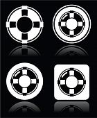 Life belt, help, S.O.S. vector white icons set on black