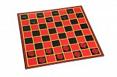 Checkers game board cutout on white background