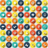 64 Flat icons collection -  raster version