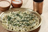 Saag waali Khichri it is an north Indian dish