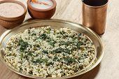 Saag waali Khichri it is an north Indian dish