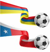 Chile  and Colombia Flag With Soccer Ball
