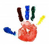 stock photo of dna fingerprinting  - For more detailed colored hand print on white background - JPG