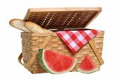picture of knockout  - Picnic basket with watermelon and bread - JPG