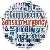 stock photo of senses  - Sense of Urgency in word collage - JPG
