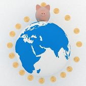 Global Banking. 3d illustration on white background