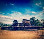 Vintage retro hipster style travel image of ancient Vatadage (Buddhist stupa) in Pollonnaruwa, Sri L