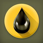 Black oil drop, long shadow vector icon