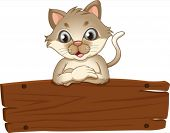 Illustration of an empty wooden signboard with a cat on a white background