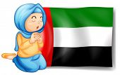 Illustration of a girl in front of the United Arab Emirates flag on a white background