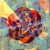stock photo of six-petaled  - Abstract Artistic Digital Floral Fractal Picture Graphic - JPG