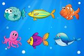 Illustration of the sea creatures under the deep sea
