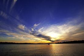 stock photo of flambeau  - Sunset on Big Crawlingstone Lake in Lac Du Flambeau Wisconsin - JPG