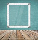 Vintage frame on brick wall, vector illustration.