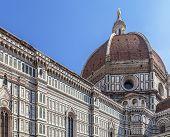 Duomo Santa Maria Del Fiore And Campanile. Dome Of Santa Maria Cathedral