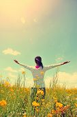 pic of open arms  - cheering woman open arms at cole flower field