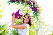 stock photo of dowry  - Bridesmaid with a wedding bouquet - JPG