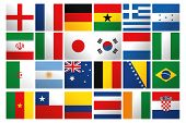 a set of world flags on a white background