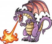 Cartoon dragon spitting fire. Vector clip art illustration with simple gradients. All in a single la