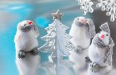 Christmas tree and  funny penguins