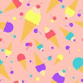 Vector Colorful Cartoon Waffle Ice Cream With Cherries Seamless Pattern