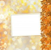 Orange Autumnal Branch Of  Tree On Abstract Background With Bokeh Effect