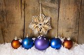 Straw Star And Christmas Balls
