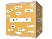Brainstorm 3D Cube Corkboard Word Concept