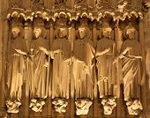 Notre-Dame cathedral in Paris - detail from main-portal