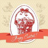 Vintage Easter background, hand drawn illustration