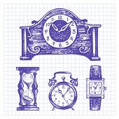 image of pendulum clock  - Hand drawn set of clocks and watches - JPG
