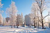 Winter Moscow, Russia. A Dormitory