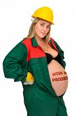 image of jumpsuits  - Pregnant woman in worker - JPG