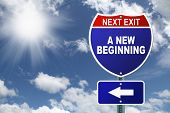 Interstate road sign A New Beginning
