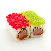 Tobiko Spicy Maki Sushi - Hot Roll with various type of Tobiko outside. Tuna, Cucumber and Green Lettuce inside